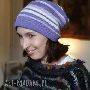 czapka fiolet w białe paski wełna ciepła - czapka, wełna, swetry, dzinina