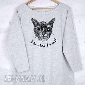 KOT Bluzka bawełniana szara z nadrukiem S/M, bluzka, bluza, szara, nadruk, kot