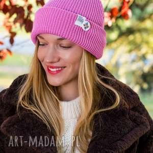 czapki wywijana dwustronna logo kolorowe kwarcowy róż, czapka damska