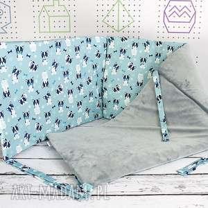 ochraniacz do łóżeczka buldożki, ochraniacz, łóżeczko, niemowlę, haft