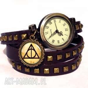 hand-made bransoletki insygnia śmierci - zegarek / bransoletka na skórzanym pasku