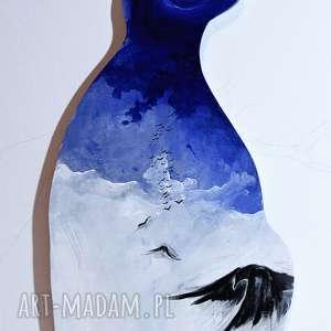 obraz stratosfera malowany na drewnie w kształcie kota artystki adriany laube