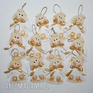 złote tulipanki aniołki, anioły, dekoracja, prezent, chrzciny, komunia, ślub