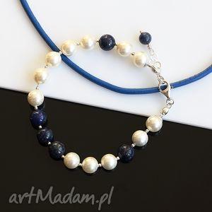 Perły w towarzystwie - bransoletka, lapis, lazuli, perły, seashell, srebo
