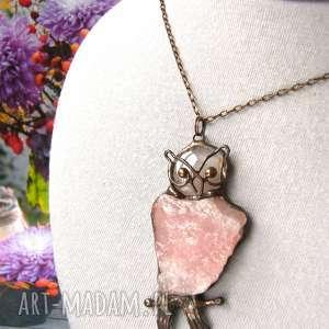 naszyjniki naszyjnik sowa z kwarcem różowym, wisiorek sowa, sową
