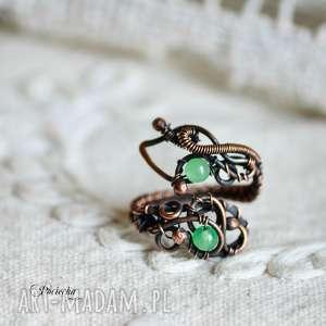 gertrude - pierścionek z jadeitem, pierścionek, miedź, wire-wrapping, jadeit, duży