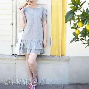sukienki oversize letnia szara sukienka z falbanami i kieszonką