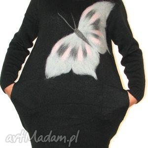 sukienka wełną zdobiona, motyle, wełna, filcowanie, dzianina
