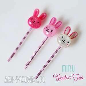 Prezent Uszate Trio, króliczki, zające, różowe, dziewczynka, prezent, spinki