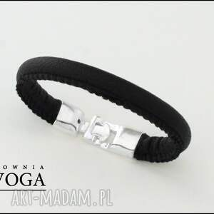 Bransoletka w czerni - ,bransoletka,rzemień,metal,biżuteria,