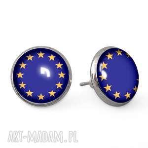 unia europejska - kolczyki sztyfty - wkrętki, prezent