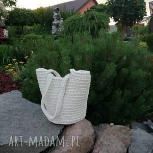 torba na ramię ze sznurka bawełnianego szydełkowa 23cmx30cm, torebka