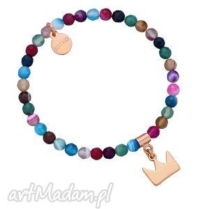 kolorowa bransoletka z fasetowanego agatu koroną, modna, kolorowa, agat, złoto