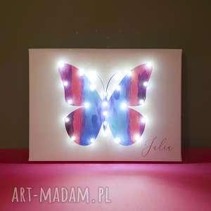 świecący motyl kolorowy obraz led prezent dla dziewczynki personalizowany imię