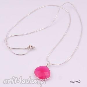 monle fuksja srebrny wisiorek z różowym agatem, srebro