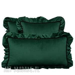 ręcznie robione poduszki dekoracyjne komplet 3 welur zieleń od majunto