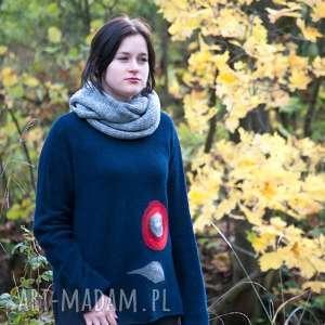 kimonowy sweter z wełny aplikacją, sweter, wełna, wełna
