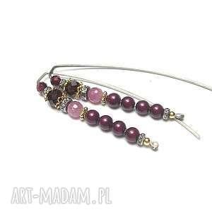 perłowe patyczki /burgund/ - kolczyki, perły, swarovski, rubiny, srebro