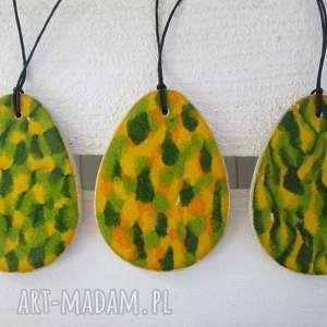 Dwustronne jajka zawieszki dekoracje ceramika ana wielkanocne