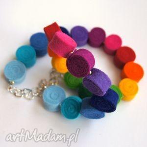 tęcza - korale z filcu tinyart - filc, tęcza, prezent, modne, biżuteria