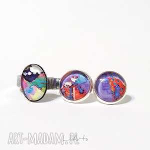 Prezent Komplet - kolczyki i pierścionek kolorowy, kolczyki, pierścionek, komplet