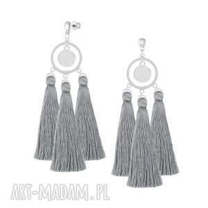długie kolczyki z chwostami - boho - koło, prezent, chwosty, srebro