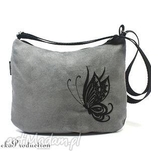 torebka black butterfly on grey, zamsz, haft, motyl, alkantara, wyszywana