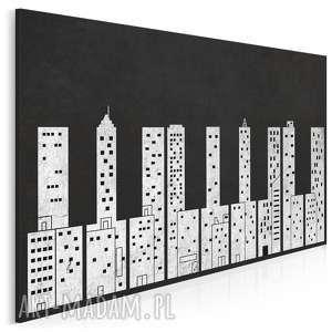 obrazy obraz na płótnie - klawisze budynki miasto - 120x80 cm (37401)