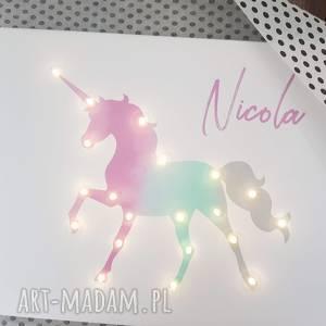 świecący jednorożec z imieniem obraz led tęcza lampka prezent dla dziewczynki