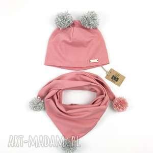Komplet czapka i szalik chusta z pomponami brudny róż, pomponami, chustka
