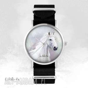 handmade zegarki zegarek - biały koń czarny, nato, unisex