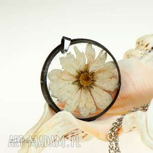 naszyjnik boho z kremowym kwiatem z1063 - kremowy naszyjnik, naszyjnik dla niej, bizuteria