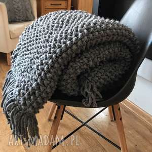 Gruby koc pled narzuta scandi 165x120 koce i narzuty knitting