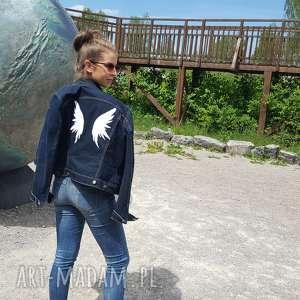 hand-made kurtki ciemna jeansowa katana ze skrzydłami