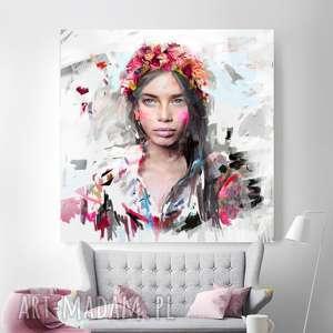 obrazy obraz na płótnie i 100x100 cm szeptem, obraz, płótno, dekoracja, wnętrze
