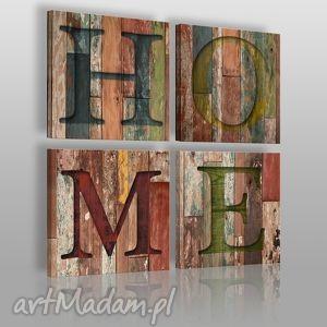 obraz na płótnie - napis home 4x40x40 cm 00801, napis, home, drewno, deski, litery