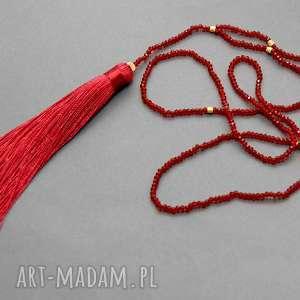 karminowy naszyjnik z chwostem - karminowy, elegancki, ciemnoczerwony, koraliki, długi