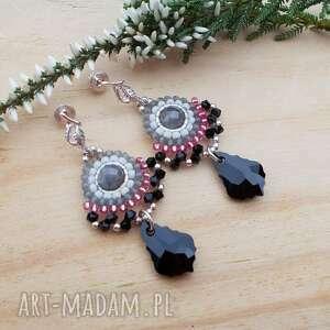 barokowe wachlarze - kolczyki, srebrna biżuteria, srebrne kryształy