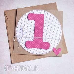 kartki na roczek pink dots kartka handmade, roczek, urodzinowa, urodziny