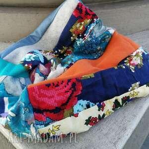 czapka patchworkowa na podszewce damska wiosenna- jesienna- box waliz- rozmiar 58-59cm