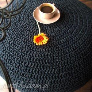 Bardzo Duża Pufa - stolik ze sznurka, pufa, sznurek, stolik, czarny, recznierobione