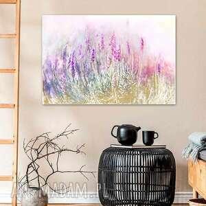 obraz na płótnie lawenda kwiaty 90 x 60, pastelowy, delikatny do salonu