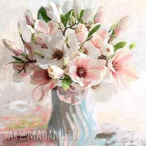 obraz na płótnie magnolie w wazonie 70 x 80, obrazy kwiaty, kwiaty