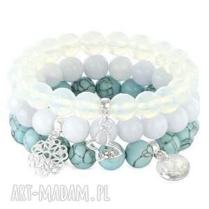 light blue jade crystals & azure howlite set - srebrne bransoletki, kryształki
