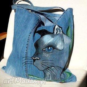 Torba z Jeansu Kocurem, torba, worek, bag, ekotorba, jeans, dżins