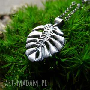 święta, naszyjniki monstera necklace, monstera, srebrny naszyjnik, liść monstery