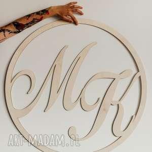 ręcznie robione koło z imionami lub inicjałami 50 cm/ wesele