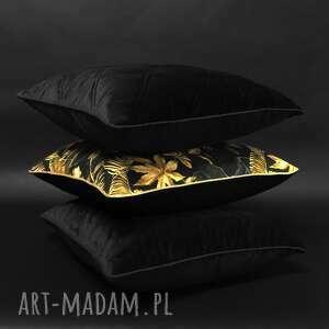ręczne wykonanie poduszki welur, komplet czerń i złoto 45x45cm