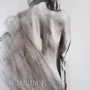 dom chusta, duża grafika kobieta, rysunek węglem, zmysłowa grafika, czarno biały