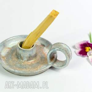 świecznik ceramiczny kaganek podstawka do kadzideł na długa świecę 1 szt